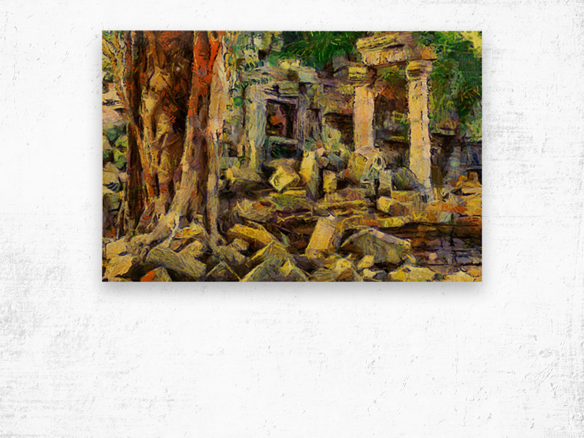 CAMBODIA Angkor Wat oil painting in Vincent van Gogh style. 148 Wood print