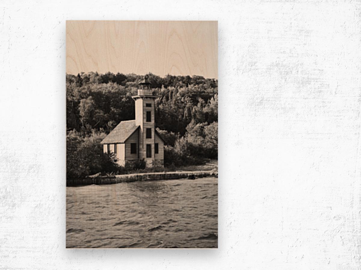 Grand Island Light house BW Wood print
