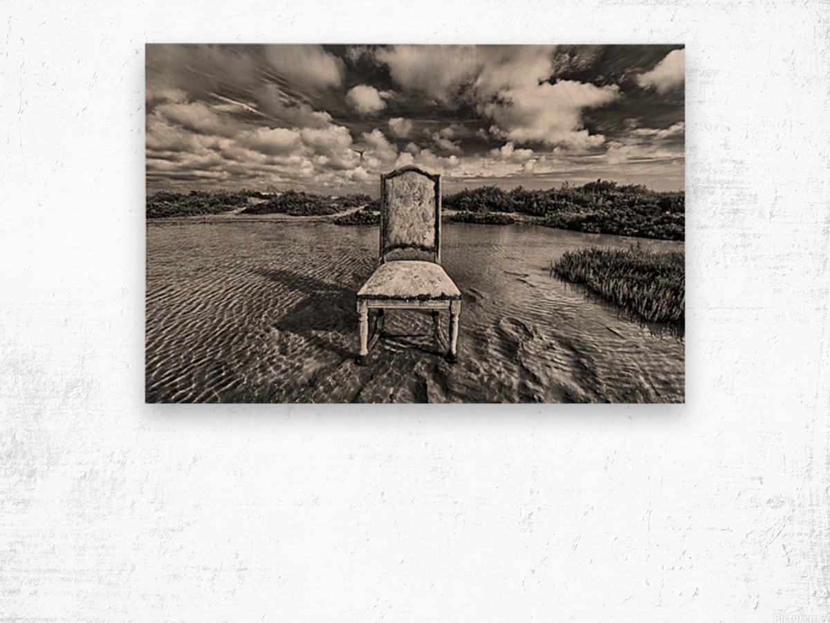 Chair in pool of water - B&W version Wood print