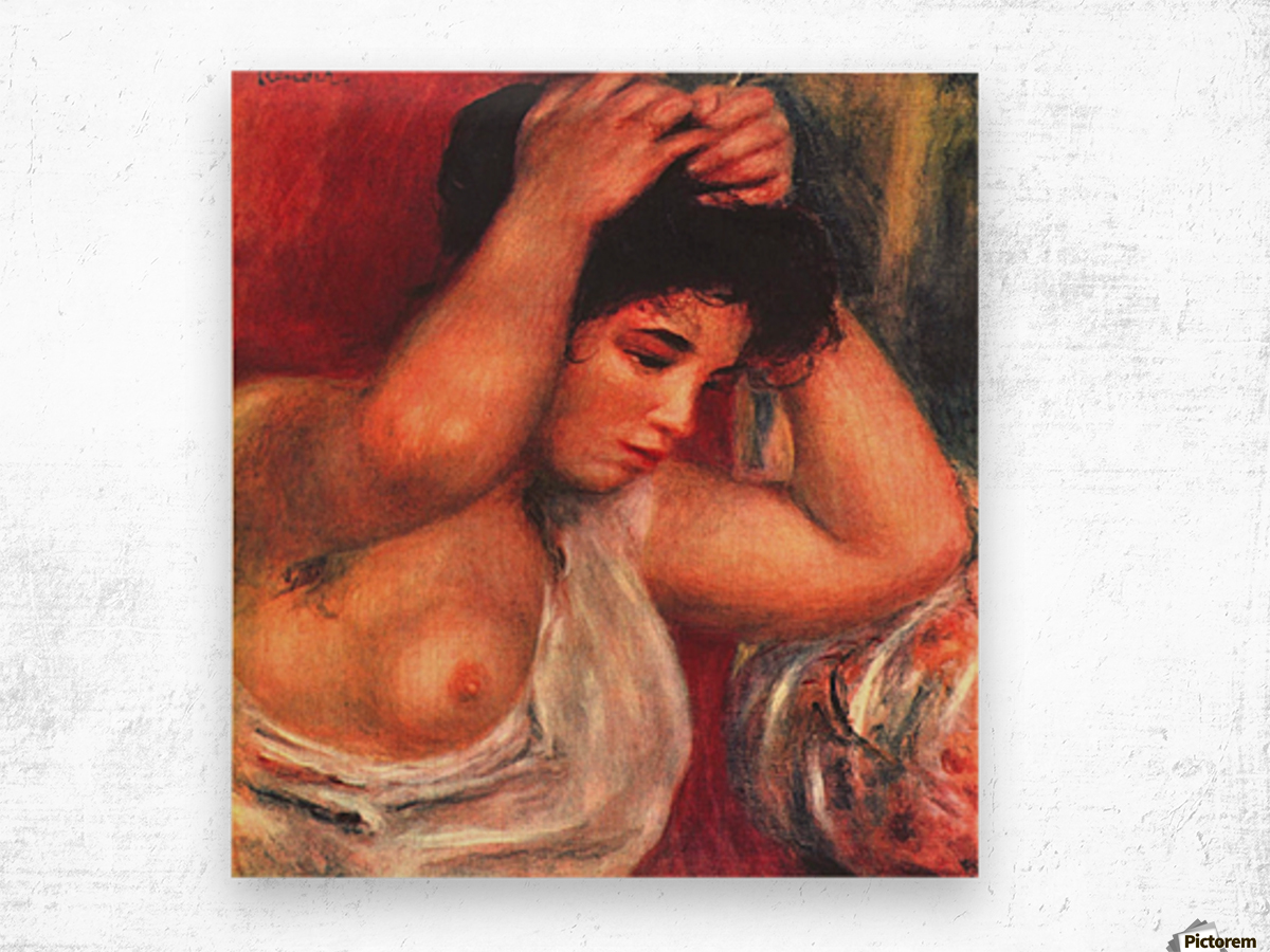 Young woman hairdressing by Renoir Wood print