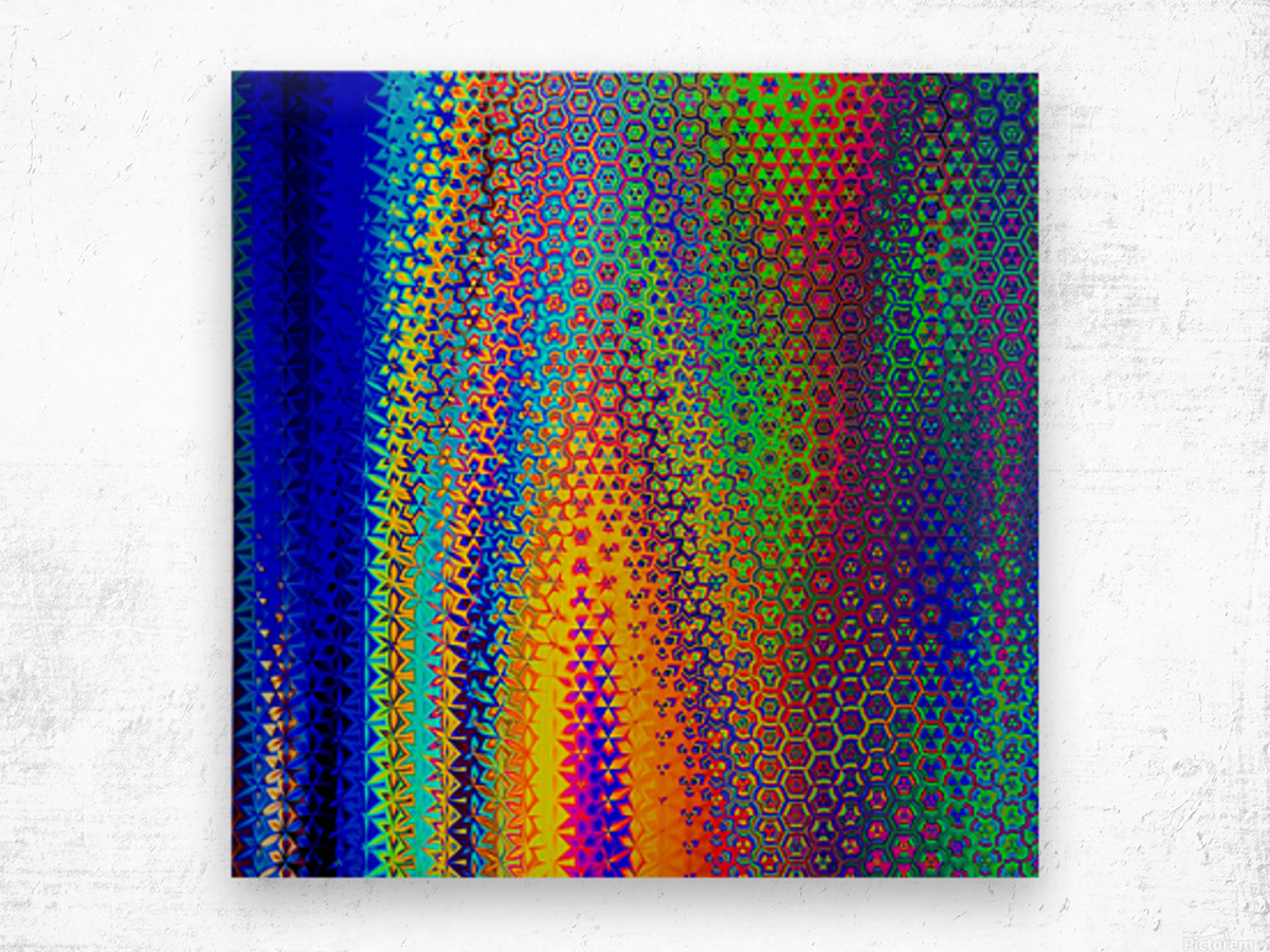 psychedelic wave Wood print
