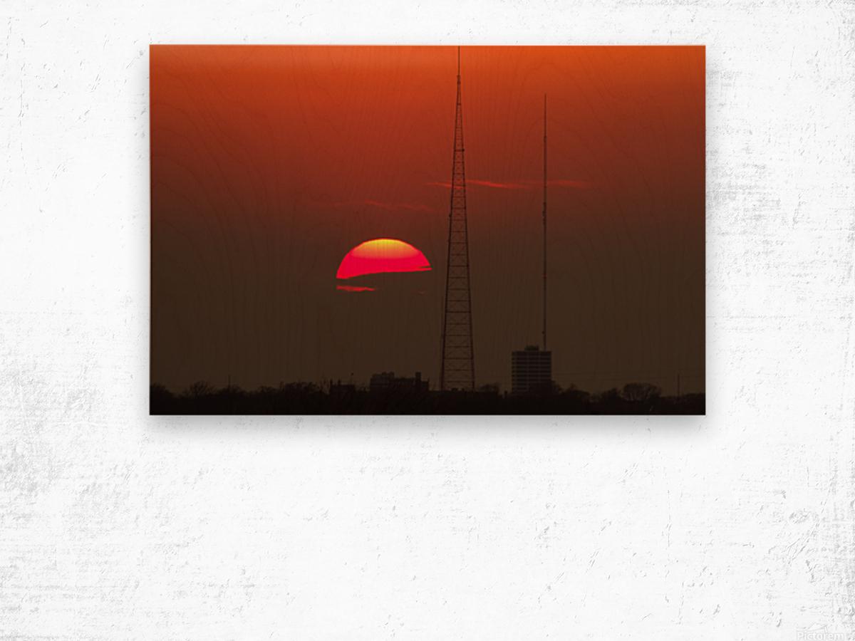 KCMO Tower Sunset  Wood print