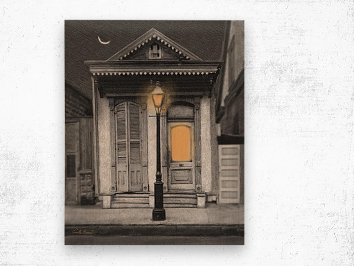 French Quarter Lamp Light Wood print