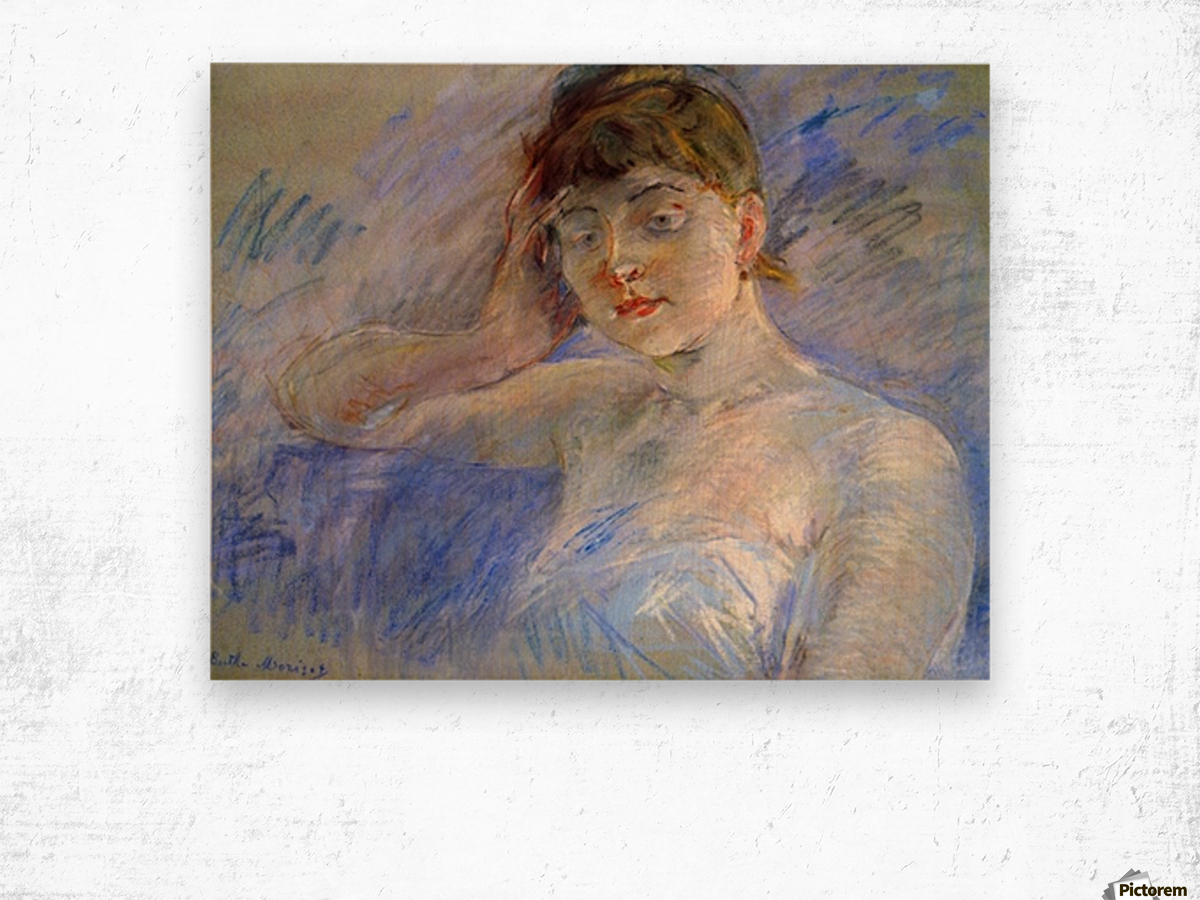 Young woman in white by Morisot Wood print