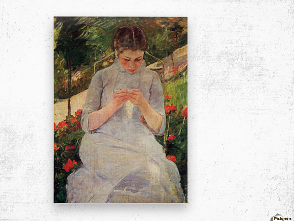 Young woman sewing in the garden by Cassatt Wood print