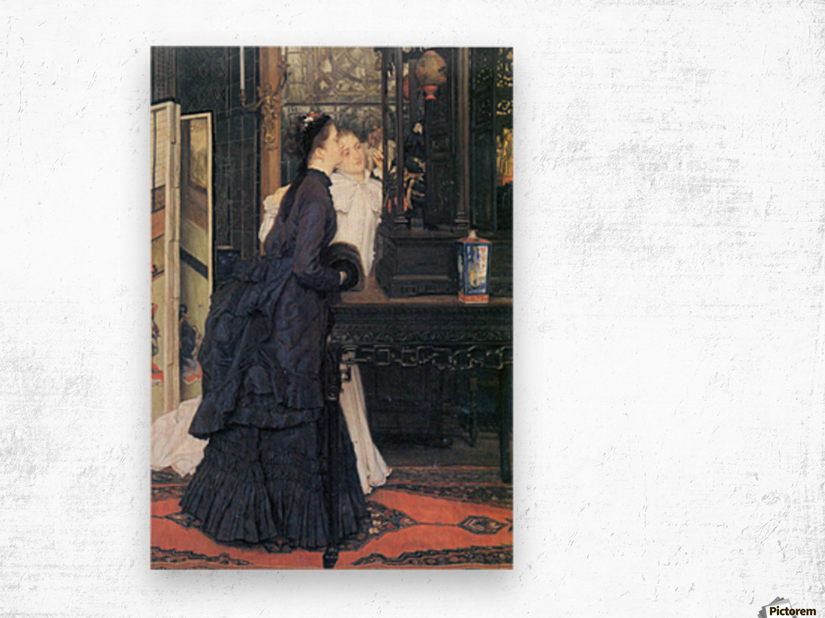 Young women with Japanese goods by Tissot Wood print