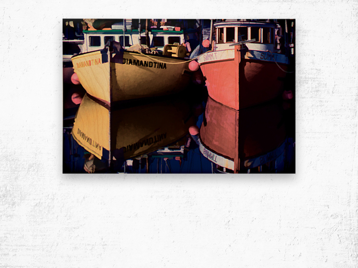 Moored Fishing Boats Wood print