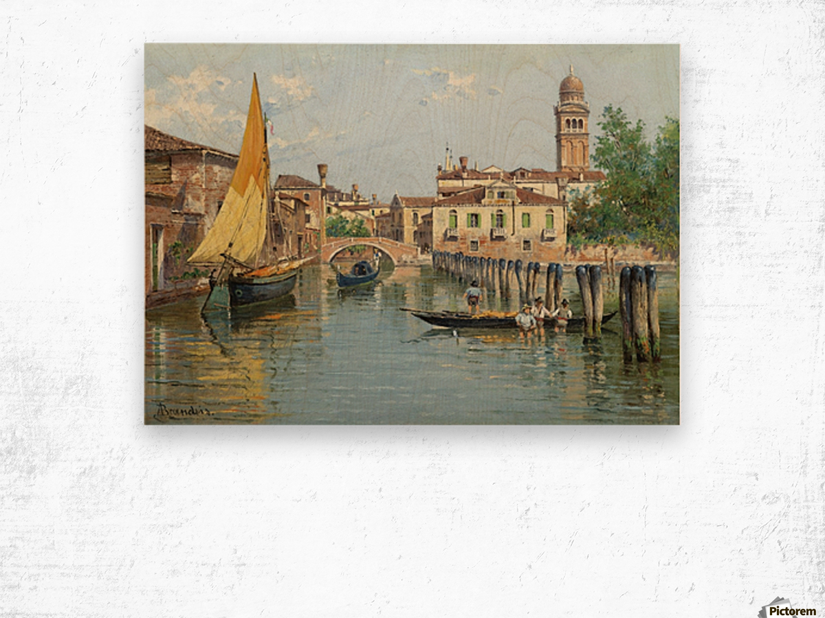 Gondolas on a canal in Venice Wood print