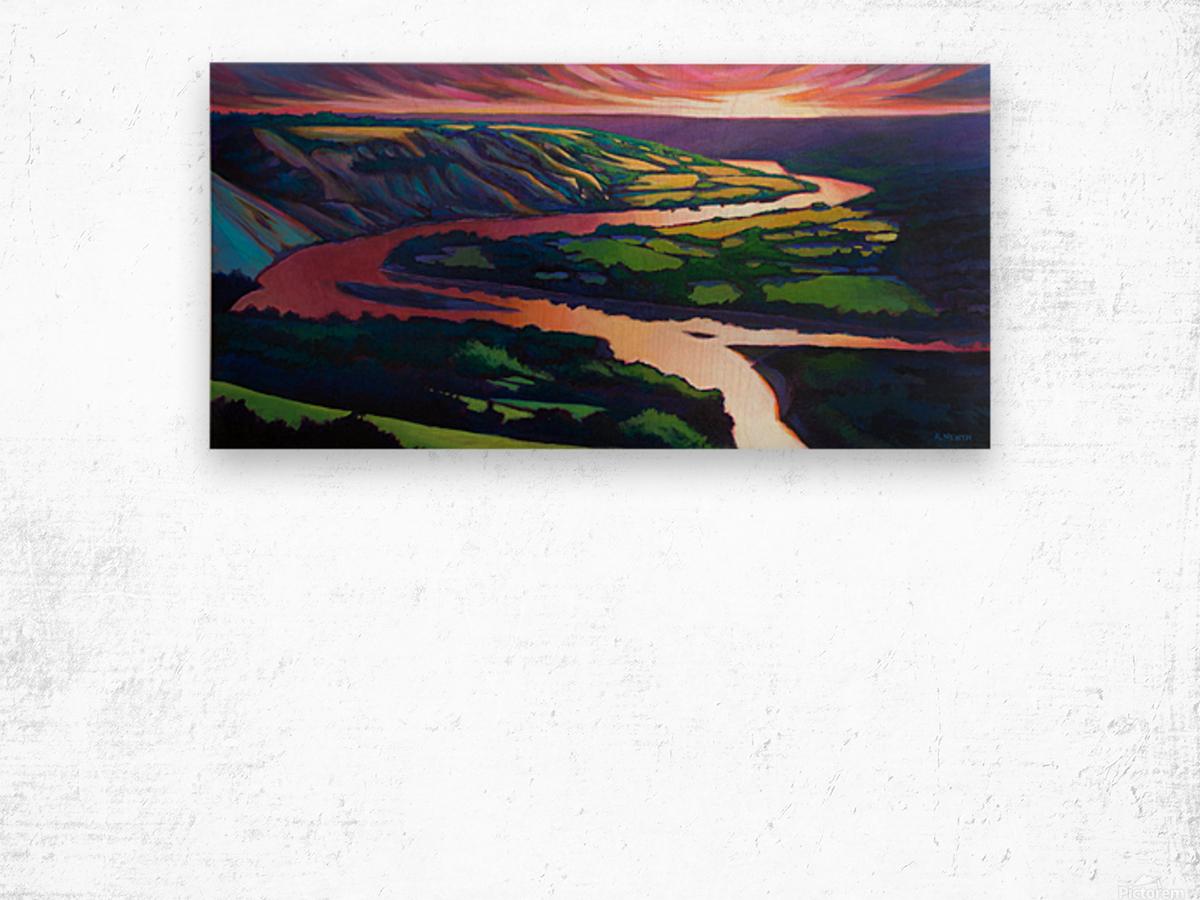 Peace River Setting Sun Wood print