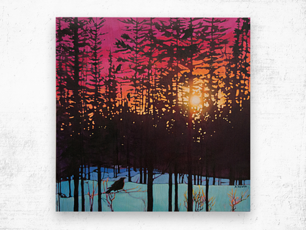 Crows at Sunset Wood print
