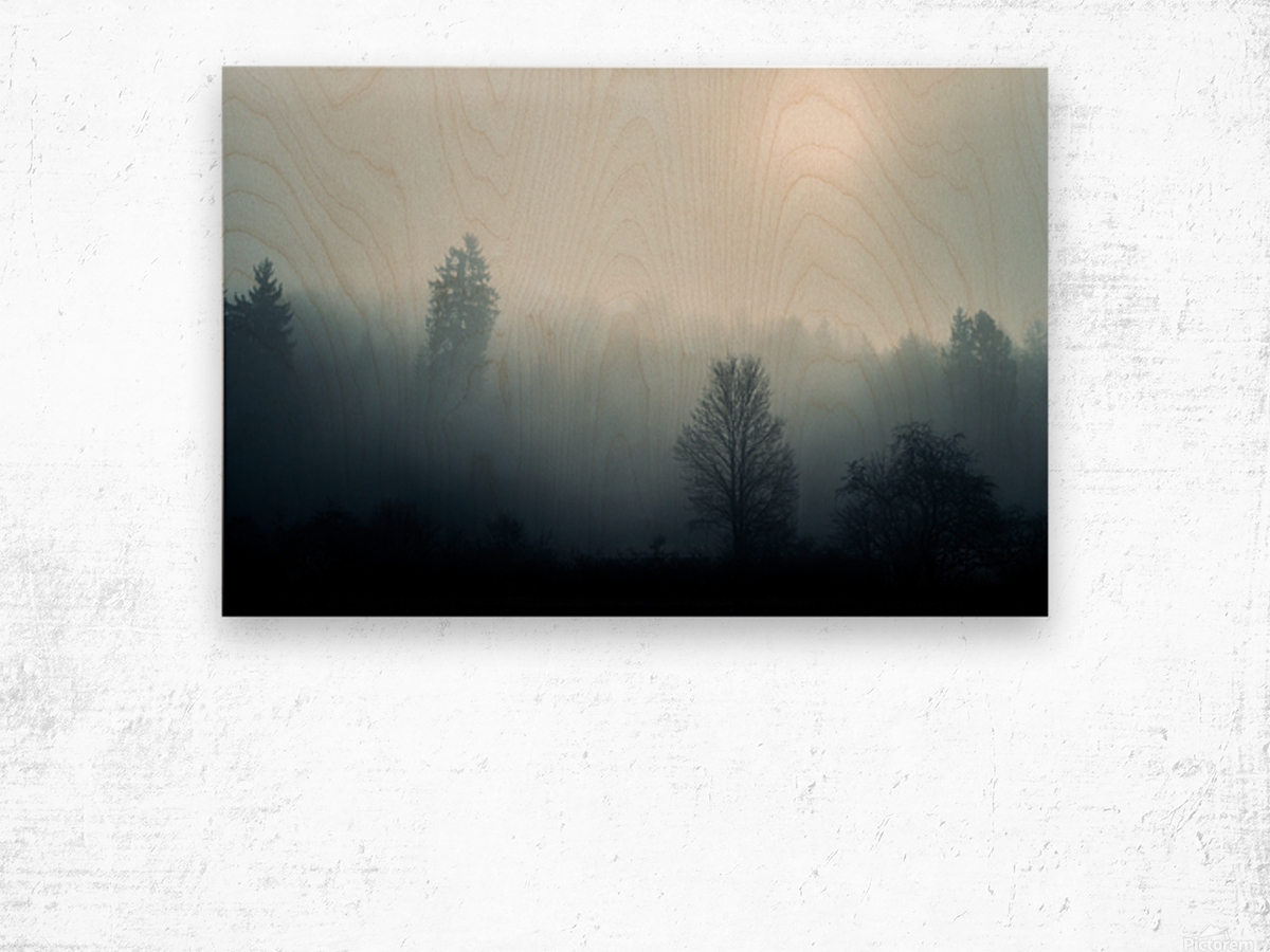 Sunrise in the misty forest Wood print