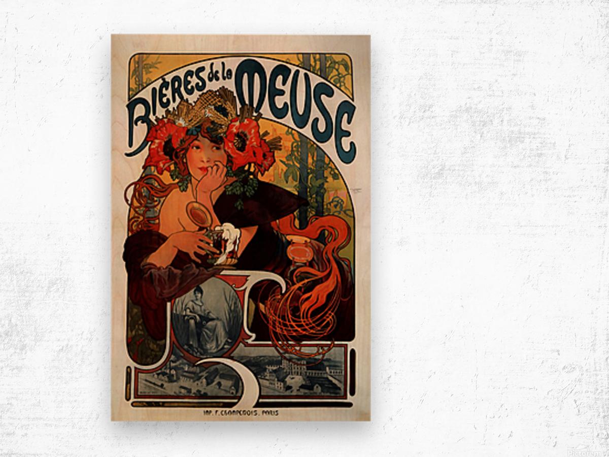 Bieres de la Meuse by Alphonse Mucha Wood print