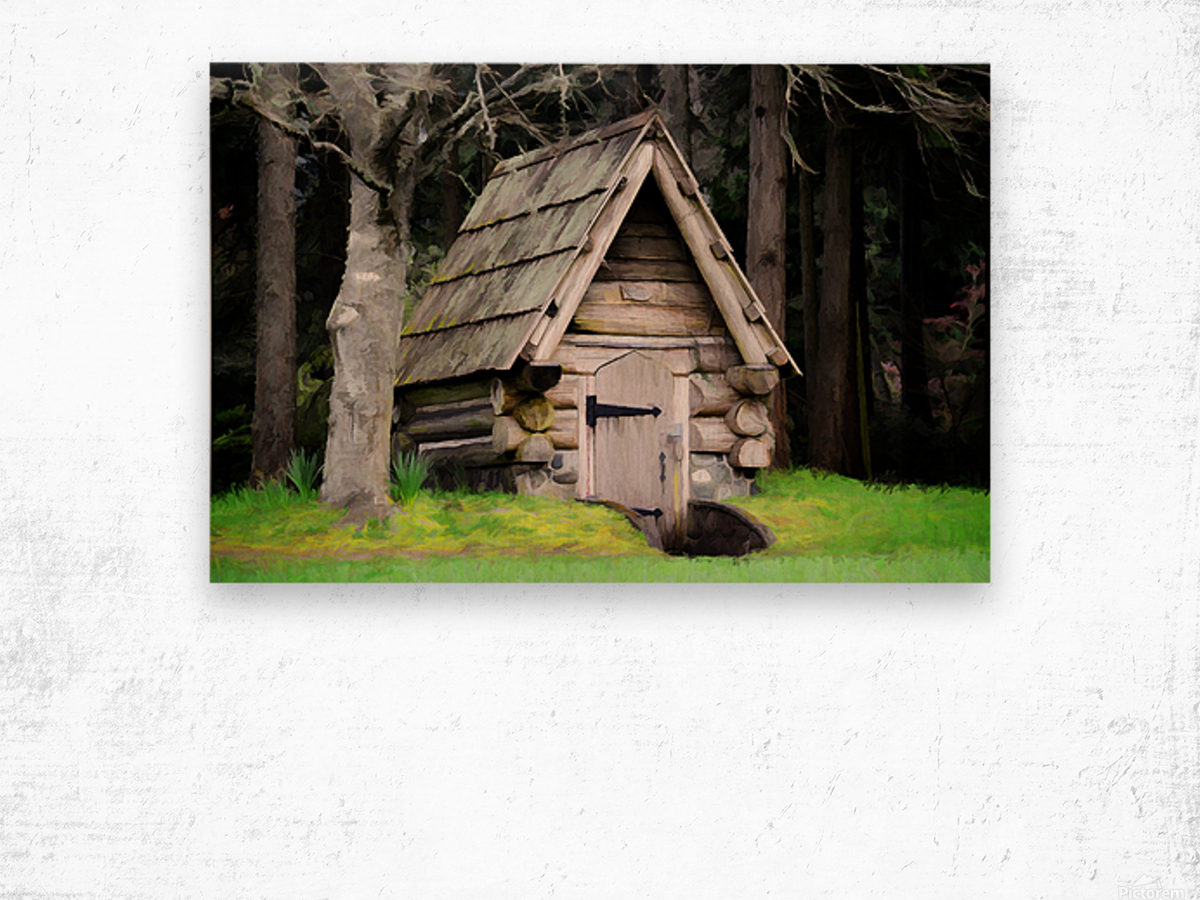 Old Root House Wood print