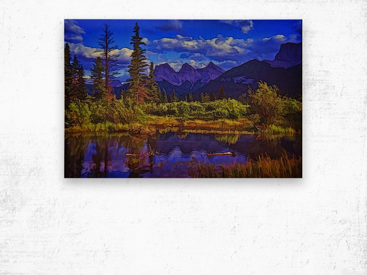 Three Sisters Peaks Wood print