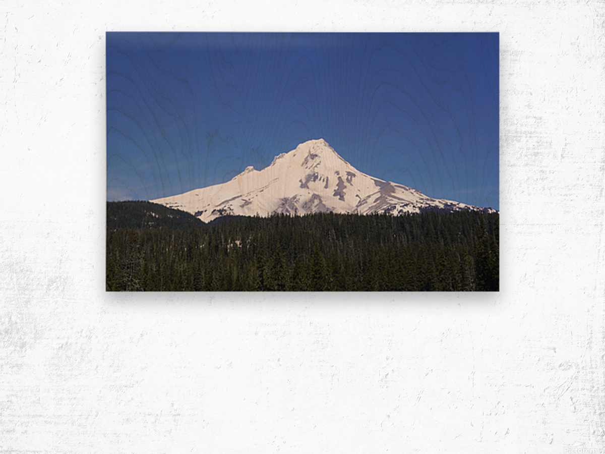 Blue Skies over Mount Hood Wood print