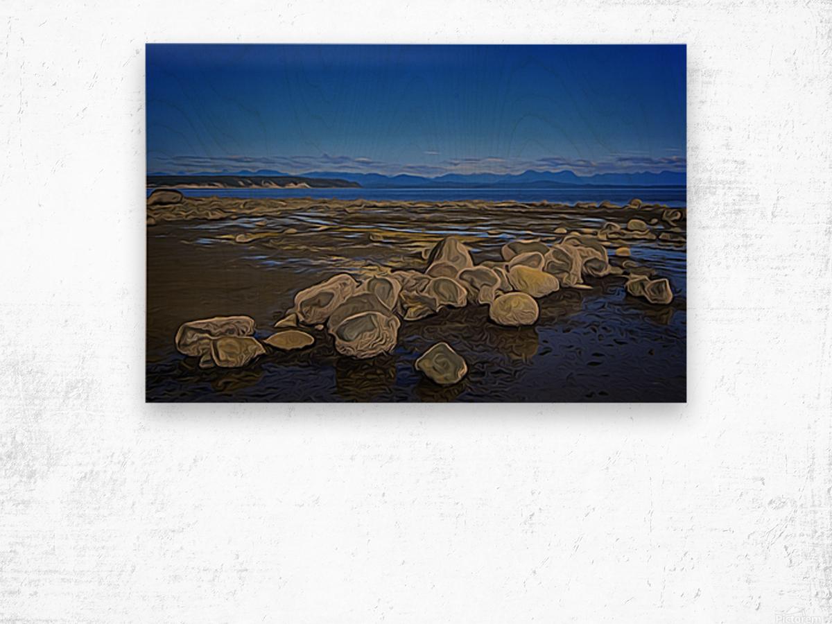Boulders at Low Tide Wood print