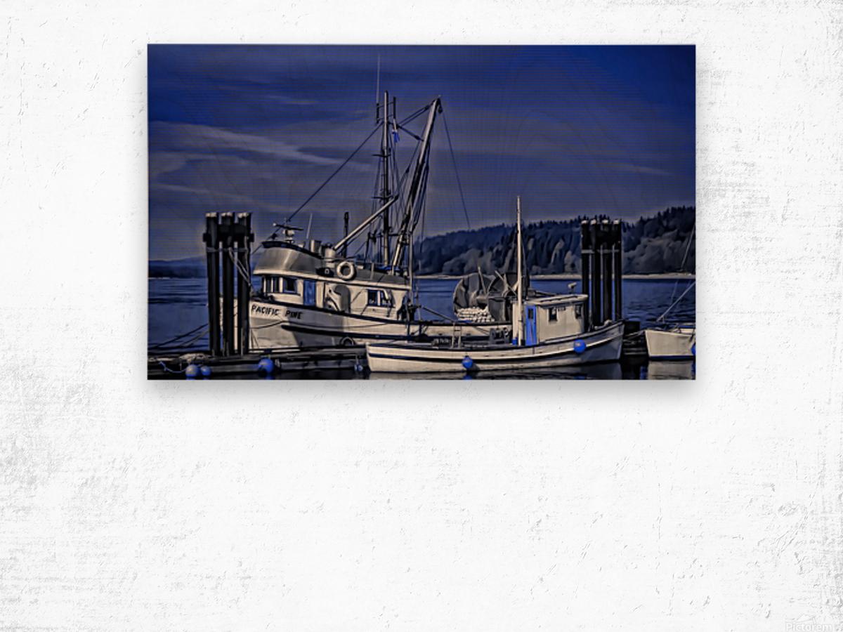 Fishing Boats at the Dock Wood print