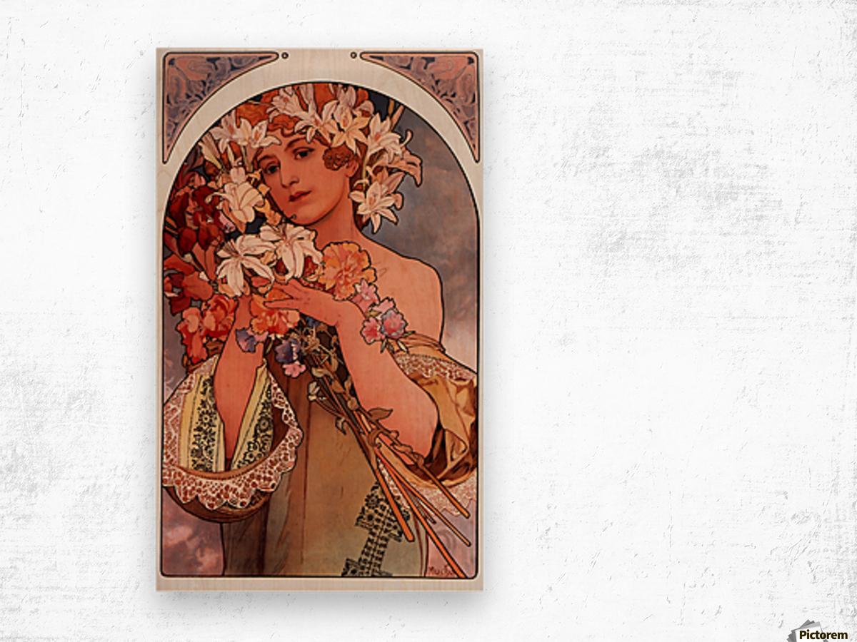Flowers by Alphonse Mucha Wood print