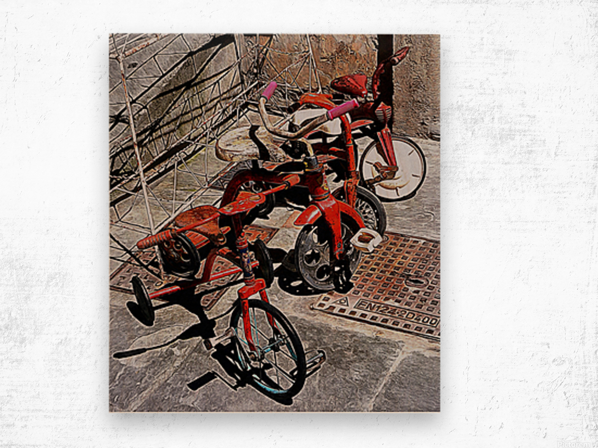 Italian Toy Antique Tricycles Wood print