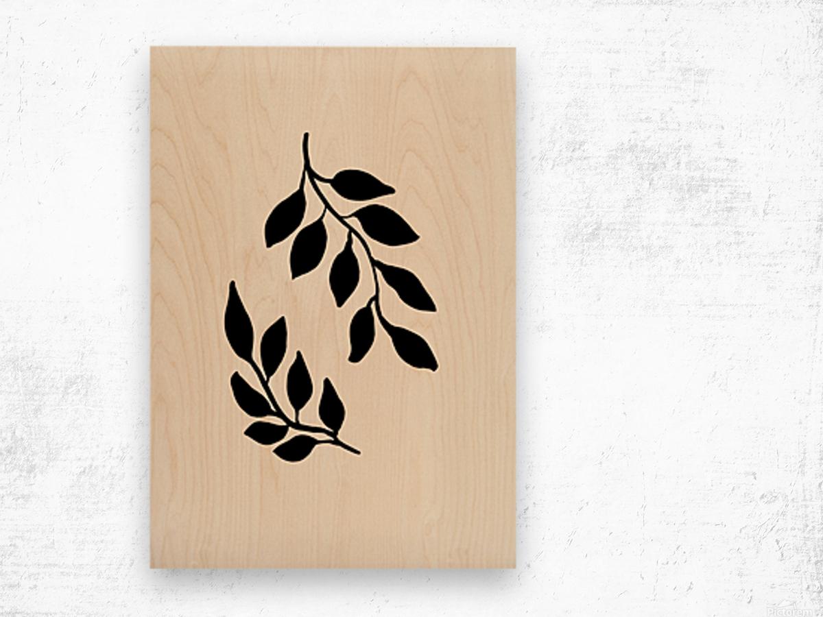 Black Twigs Wood print