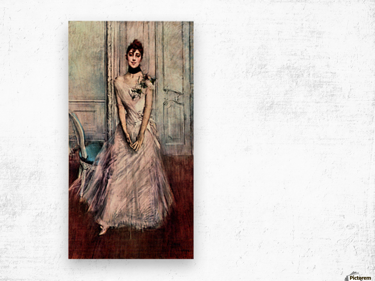White pastel picture by Giovanni Boldini Wood print