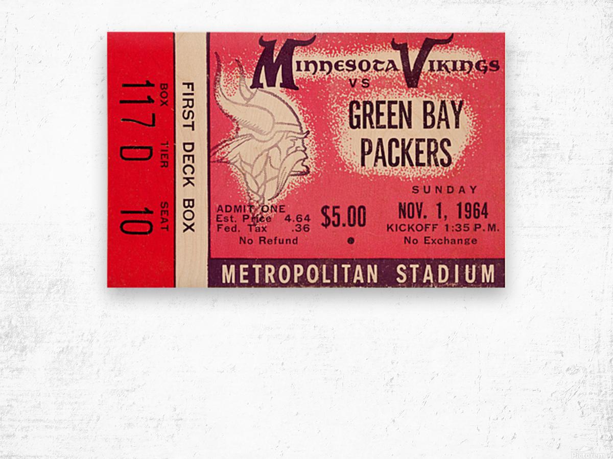 1964 Minnesota Vikings vs. Green Bay Packers Ticket Canvas Wood print