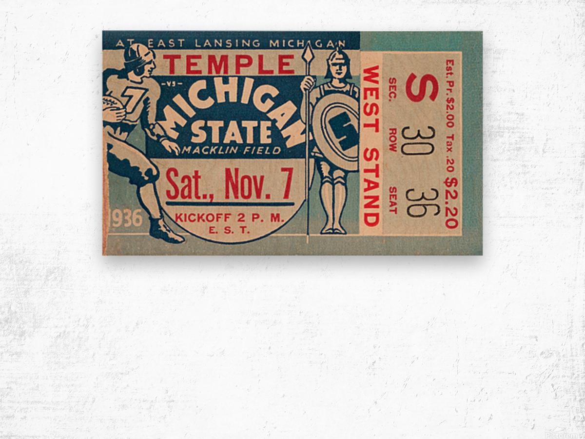 1936 Michigan State vs. Temple Football Ticket Art Wood print