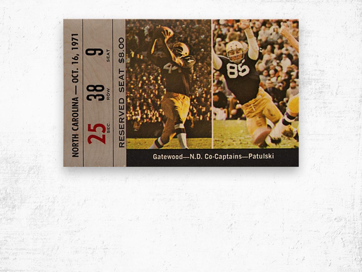 1971 Notre Dame vs. North Carolina Football Ticket Canvas Wood print