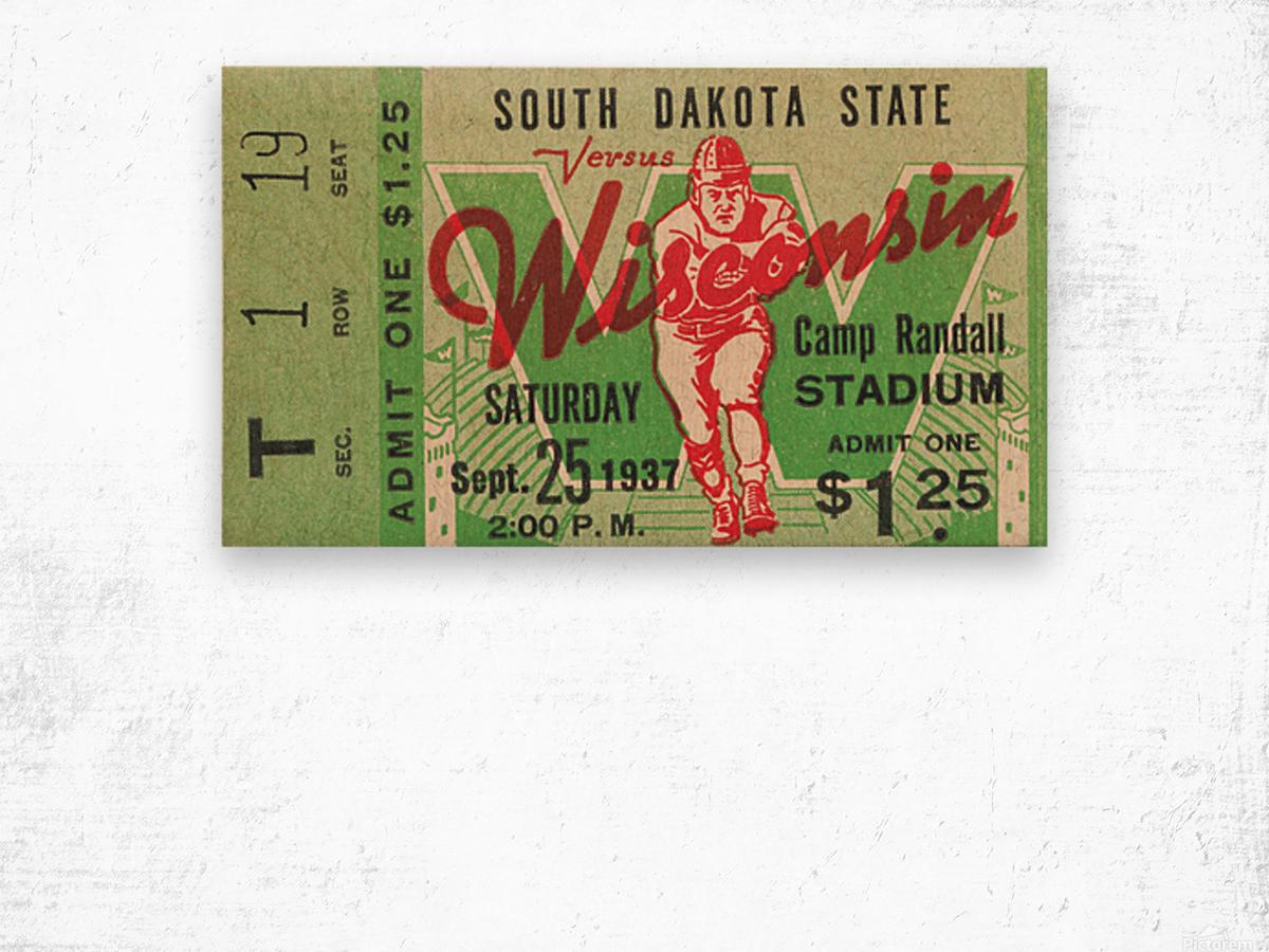 1937 South Dakota Jackrabbits vs. Wisconsin Badgers Wood print