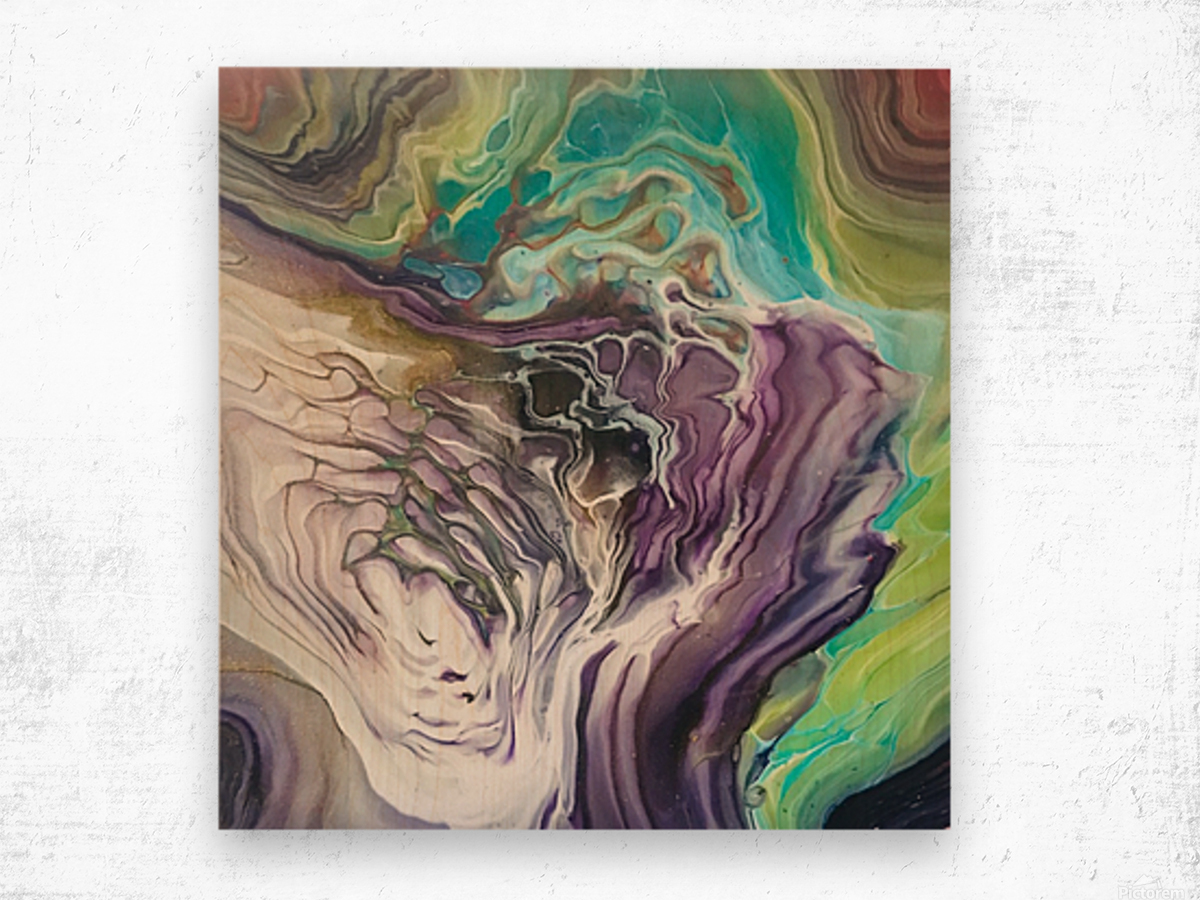 Peacock Marble Abstract Wood print