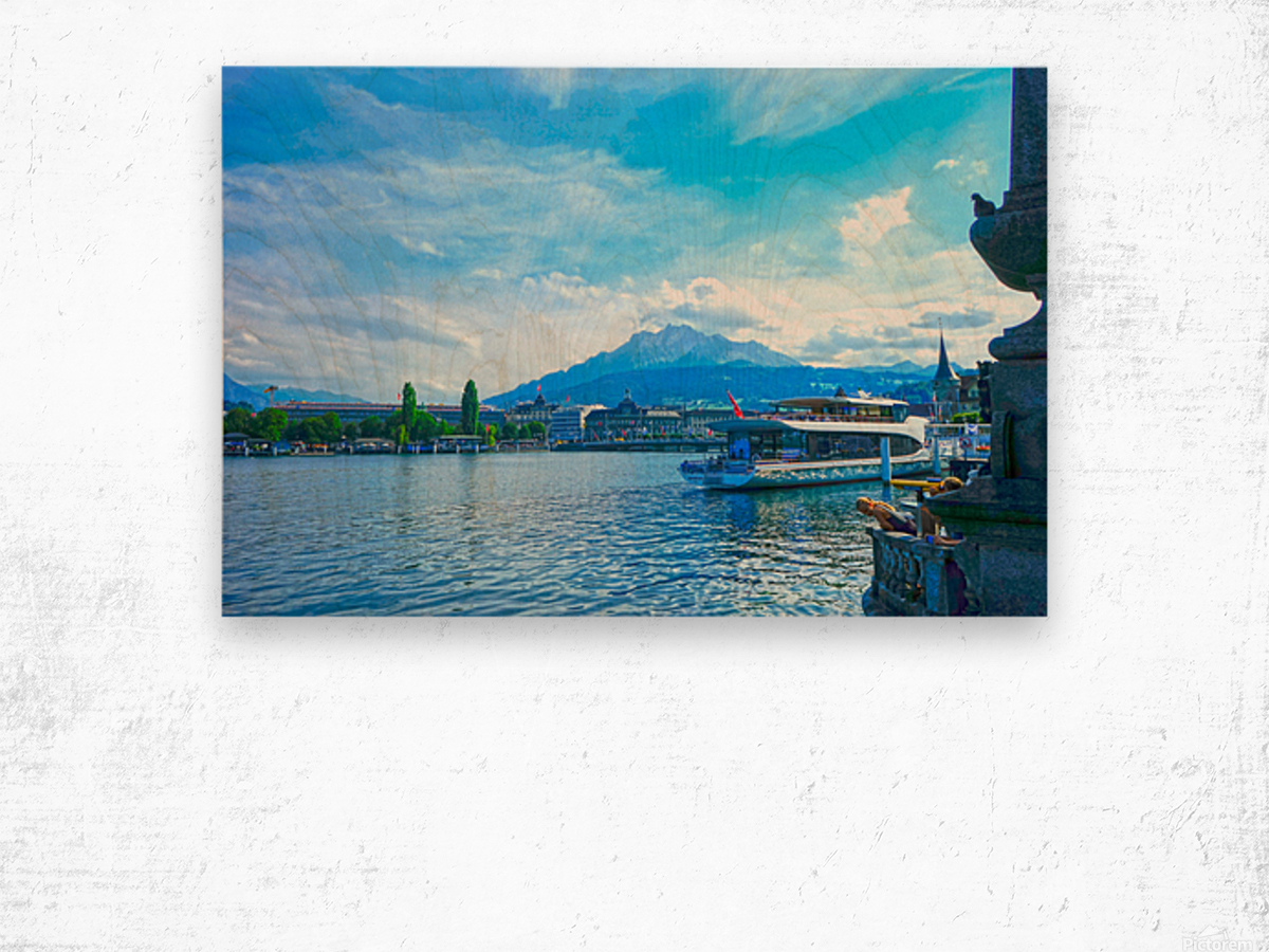 Mount Pilatus on the Shores of Lake Lucerne   Central Swiss Alps Wood print