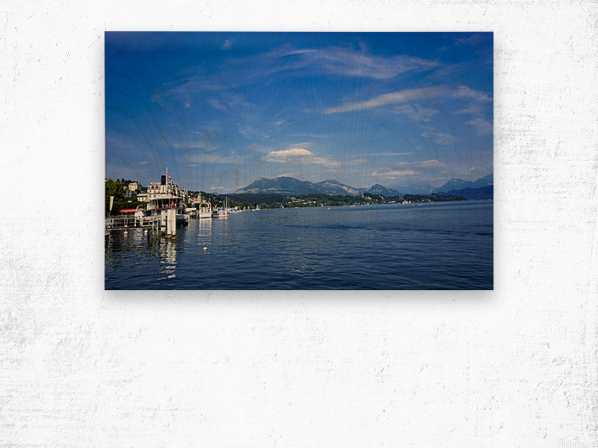 On the Shores of Lake Lucerne Wood print