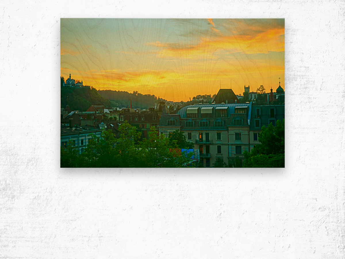Sunset over Lucerne Switzerland Wood print