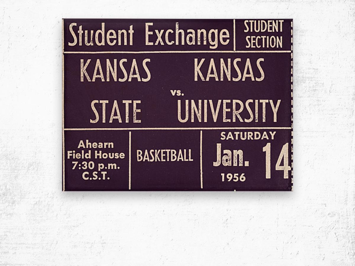1956 Kansas State vs. Kansas Basketball Ticket Remix Art Wood print