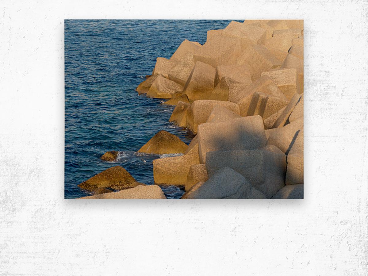 Cubes on the sea Wood print
