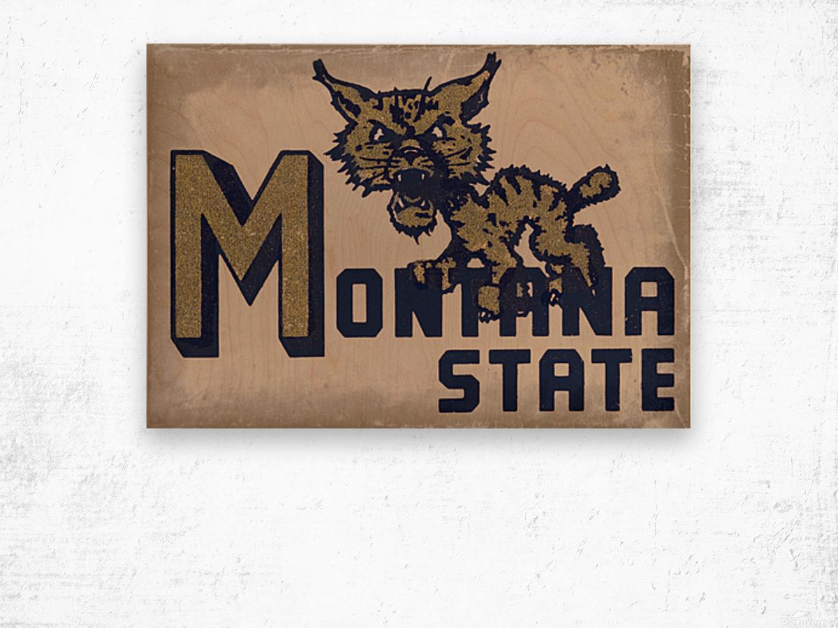 Vintage Montana State Bobcat Art Wood print