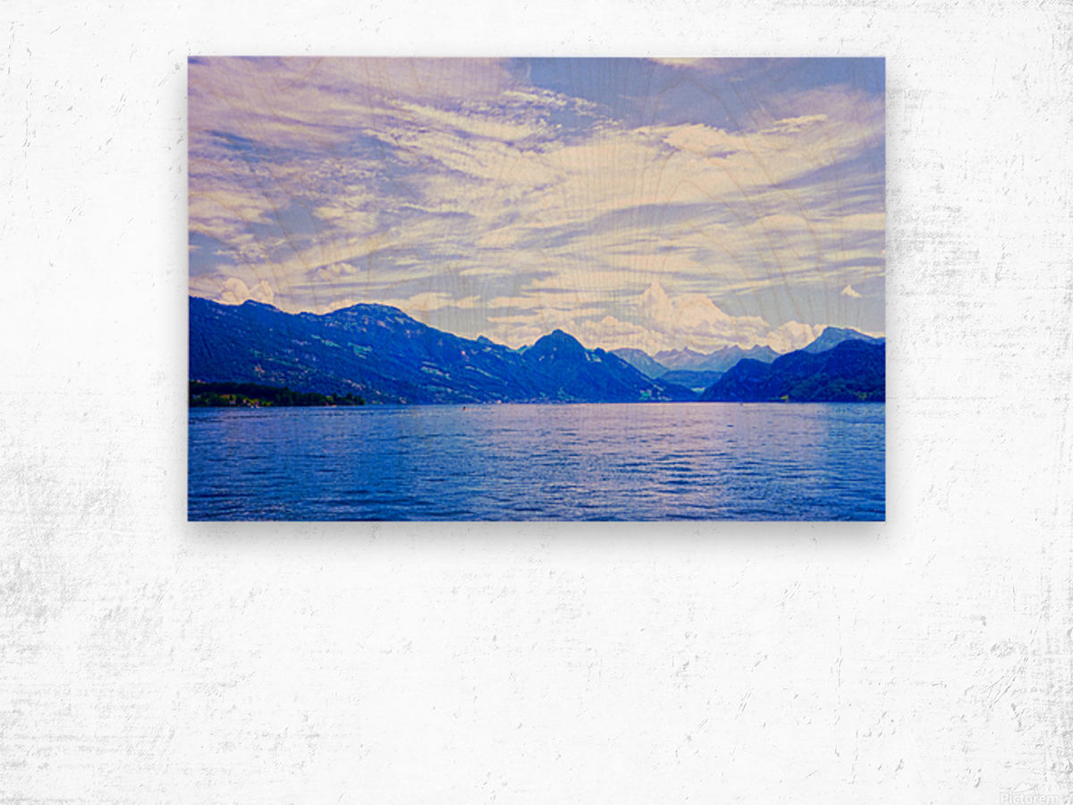 Beautiful Day The Alps and Lake Lucerne 1 of 2 Wood print