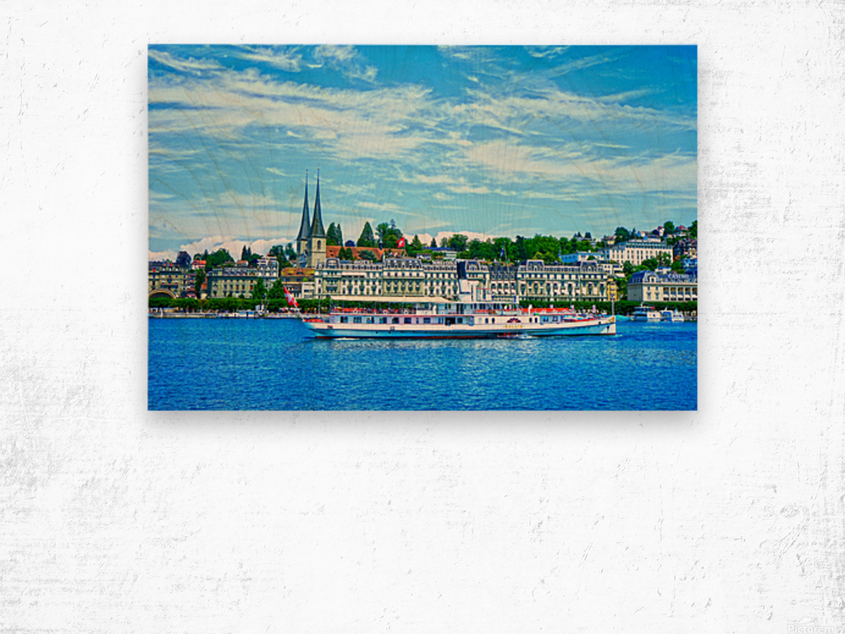 Old Town along the Coast in Lucerne Switzerland Wood print