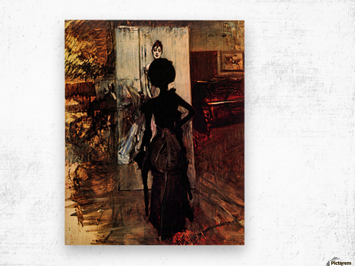 Woman in front of the painting White pastel picture by Giovanni Boldini Wood print