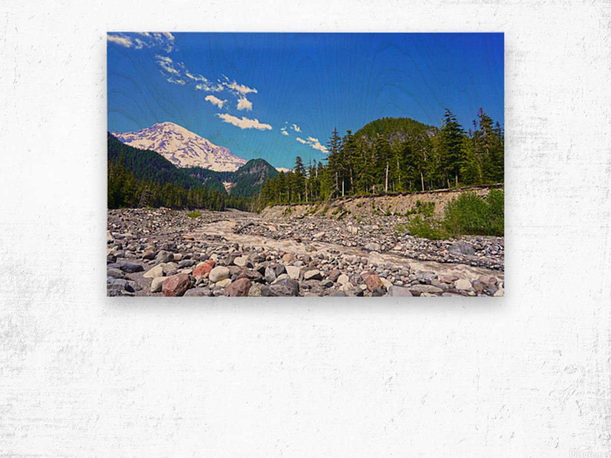 Spring Runoff Mount Rainier Pacific Northwest Washington State Wood print
