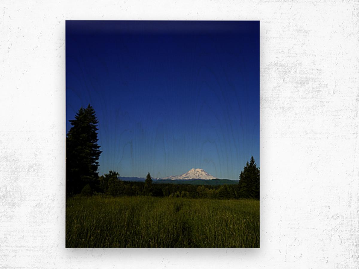 Mount Rainier at Sunset Pacific Northwest Washington State Wood print