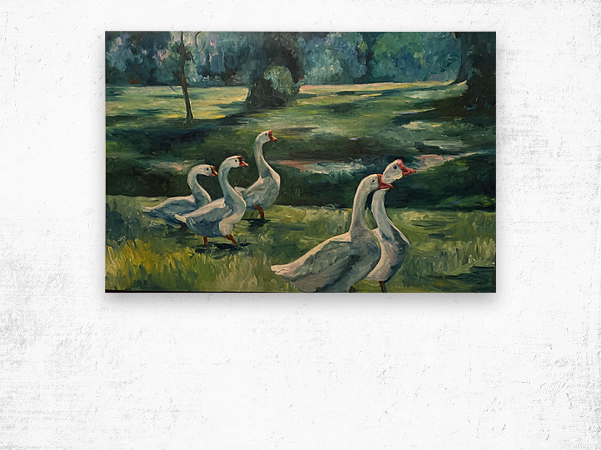 Geese at St. Francisville Wood print