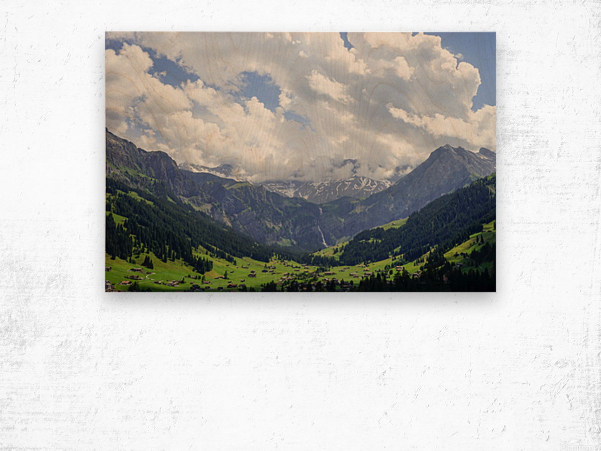 Beautiful Day in the Valley and Mountains of Adelboden Switzerland Wood print