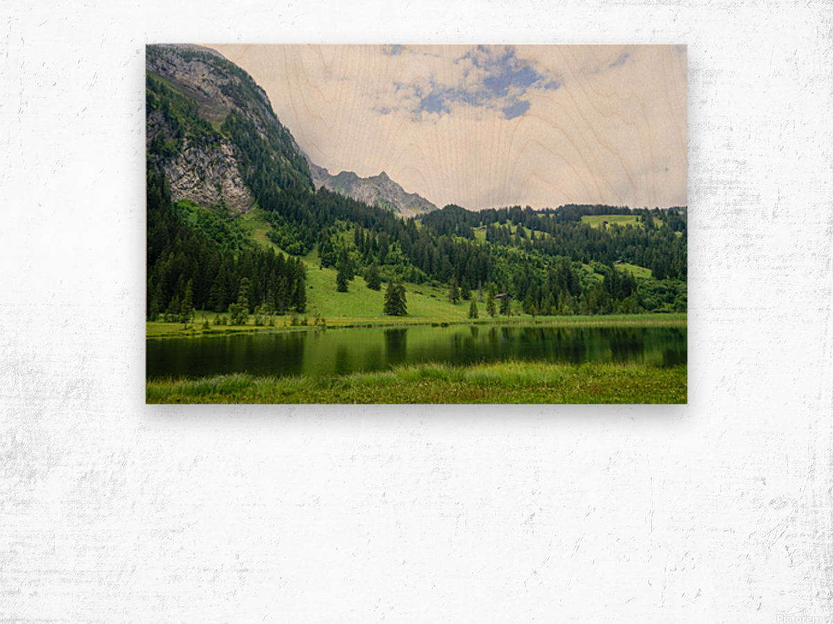 Quiet Morning on the Lake in the Swiss Highlands Wood print