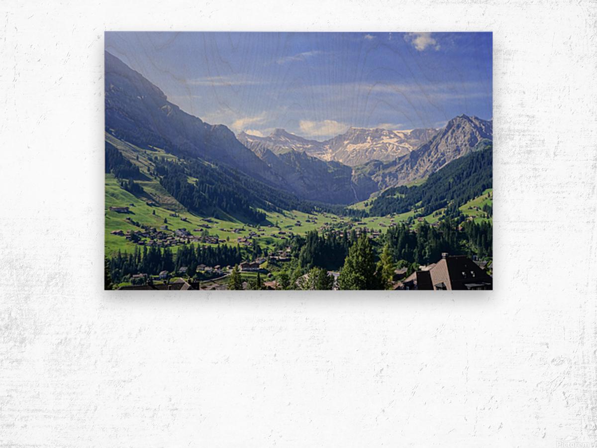 Blue Skies over the Alps in Adelboden Switzerland Wood print
