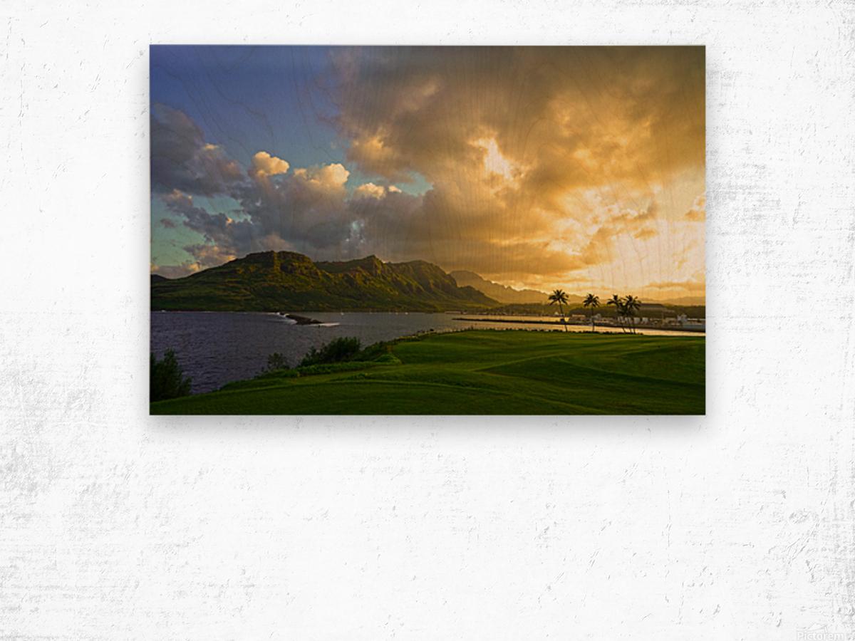 Sunset Nawiliwili Bay Kauai Hawaii Wood print