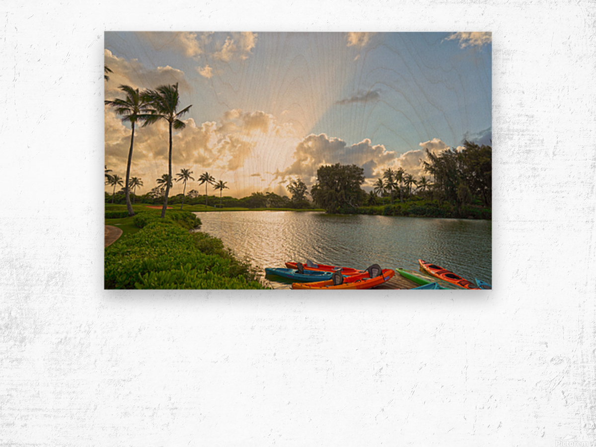 Sunset by the Lakeshore in Kauai Wood print