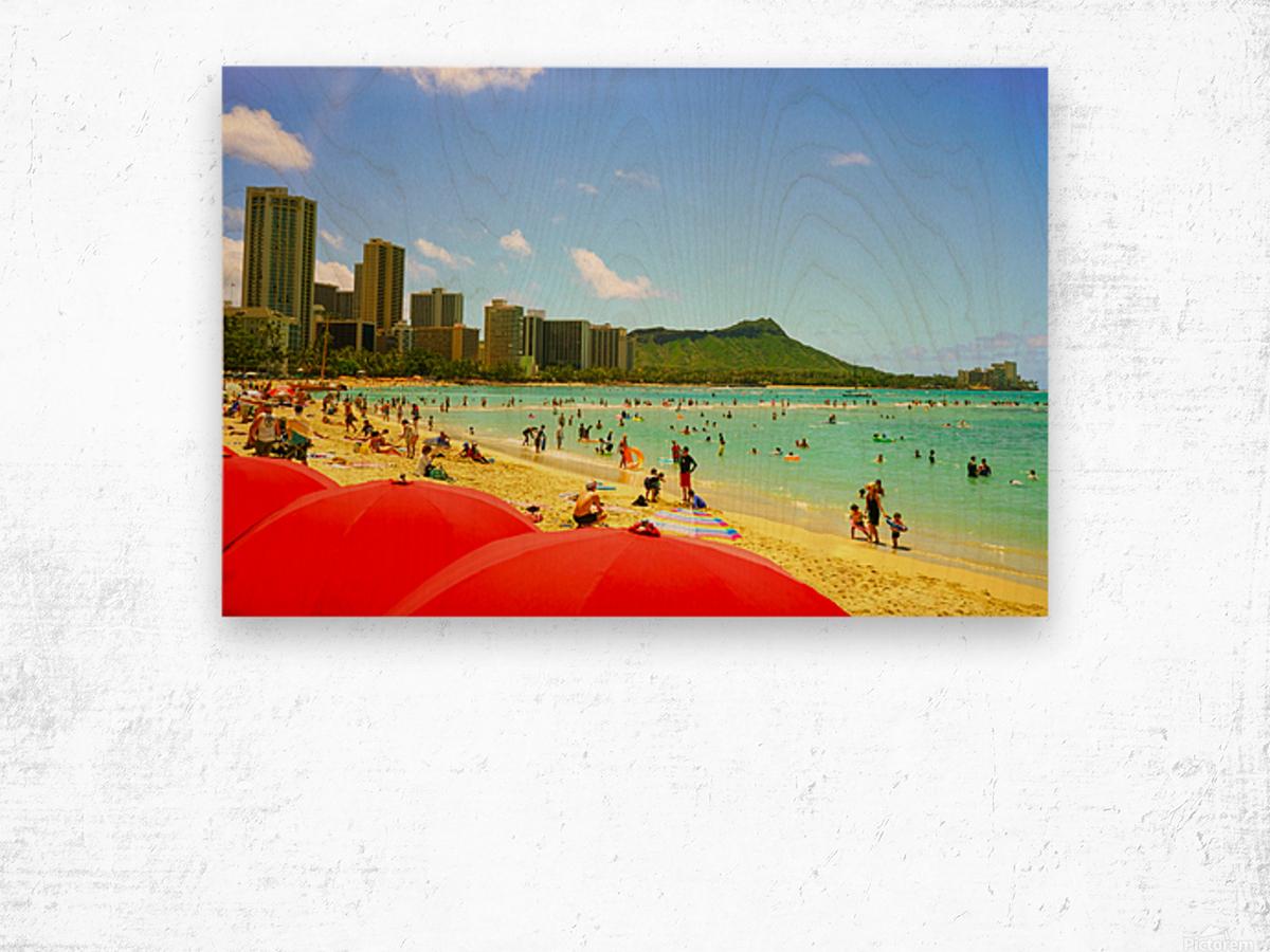 Waikiki Snapshot in Time 1 of 4 Wood print