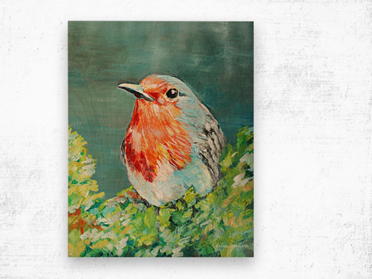 Bird Painting Robin Wood print
