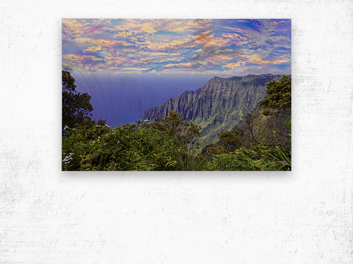 Sunset at Puu O Kila Lookout Kohala Mountains on the Island of Kauai in Hawaii Wood print